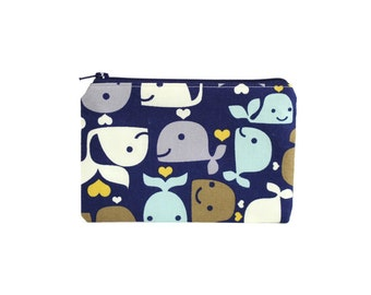 Happy Whales Card Wallet / Small Coin Purse in Hearts Aquatic Print