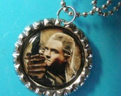 "Legolas Greenleaf Elven Prince of Mirkwood bottlecap picture PENDANT w/ 24"" silverplated necklace chain - from The Hobbit"