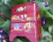 Miniature Lacquer Box with Drawers Vintage Japanese Box Jewelry Box with Drawers Doll Dresser Asian Mid Century Vintage