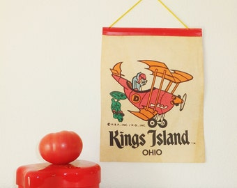 RARE Dastardly & Muttley Banner Kings Island Hanna Barbera Souvenir Flag Pennant Wall Hanging Vintage 1960's Vtg 1970's Stop The Pigeon