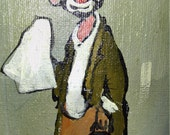 Clown Oil Painting, Signed Oil Painting, Looks like Emmett Kelly's Famous Tramp Art Clown, Signed Hammond