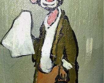 Clown Oil Painting, Signed Oil Painting, Looks like Emmett Kelly's Famous Tramp Art Clown, Signed Hammond