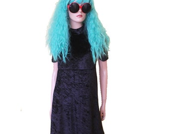 Black Crushed Velvet Dress Goth Mini babydoll grunge club kid WITCHY vintage 90s courtney love kinderwhore scooter medium skater cyber