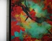 Autumn Cardinal, 18x22 inches framed, fine art photography, mixed media photograph, bird art, red decor, wall art, original art