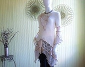 Size 4/6/8 X-Small Tunic Top/ Altered Clothing/ Knit, Lace Bohemian Top by Brenda Abdullah