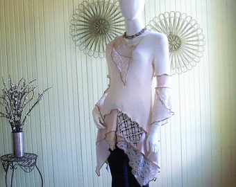 Size 4/6/8 Extra Small Tunic Top/ Cream and Sand/ Cotton Knit, Lace/Bohemian Flutter Tulip Sleeve