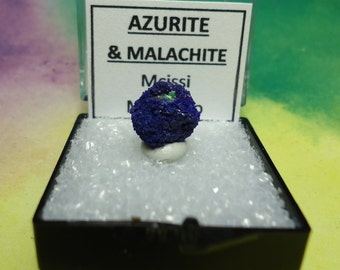 Sale AZURITE And MALACHITE Crystal Ball Mineral Specimen In Perky Box From Morocco