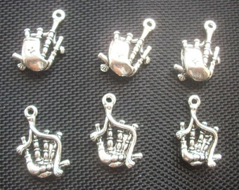 6 Scottish Bag Pipes Charms Silver Tone Metal 26mm