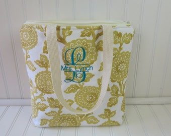 Lunch Tote Bag - Lunch Bag - Deluxe Lunch Tote - Insulated Lunch Tote - Large Lunch Tote - Monogrammed Lunch Bag - Teacher Gift