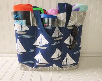 Beach Tote Bag, Waterproof Beach Bag, Sailboat Beach Bag with Pockets, Large Beach Bag