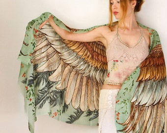Silk Scarf, Wings scarf, Bohemian Shawl, Feathers Shawl, Hand Painted Scarf, Digital Print Sarong, Girlfriend Gift, Green Wrap, Silk Wrap