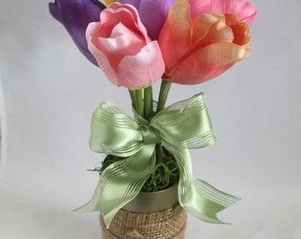 Spring Flower Arrangement, burlap, floral arrangement, gift for her, Easter decoration, home decor. bridal shower decorations, gift for her