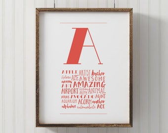 PRINTABLE Monogram Letter A, Wall Art, ABC wall art, Nursery Decor, printable A poster, kids room wall art, alphabet art, playroom art