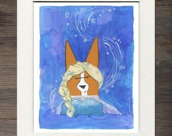 Corgi Elsa Matted Art Print