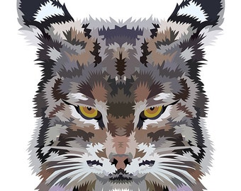 Bobcat. Cross Stitch pattern, Digital Download PDF. Geometric design of a wildcat or bobcat with color patches. Modern in design
