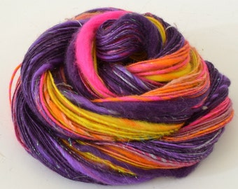 Handspun Yarn - Bright Merino Yarn -Rainbow - 2.1oz, 156yd, 11WPI