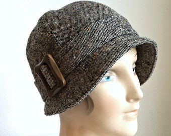 Cloche Hat with Vintage Wood Buckle - Size XS - Ready to Ship via 3 Day Priority