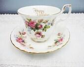 "Royal Albert 'Moss Rose"" Happy Valentine Tea Cup & Saucer - 1950's - Mint"