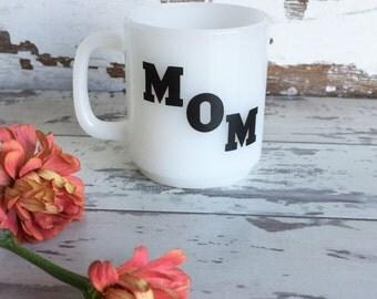 Vintage Mug - MOM - Glasbake McKee - Milk Glass - Black and White