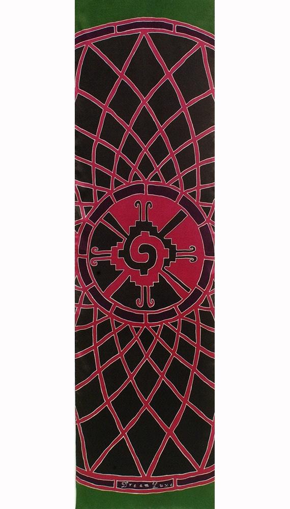 "Silk Scarf Batik Hand Painted with Hunab Ku Maya Sacred symbol Mandala. Black, green, and Dark Pink. Painted on Charmeuse Silk 21 in. x 72""."