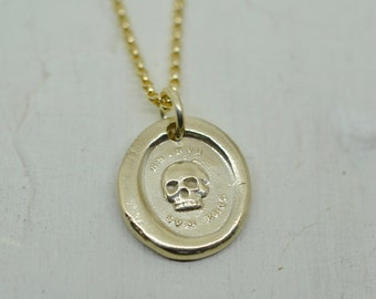 14k gold skull necklace - skull wax seal necklace - es fui sum eris - Latin motto -  memento mori - gold wax seal jewelry