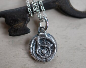 Tudor Rose wax seal necklace ... medieval wax seal jewelry