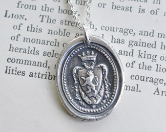 wax seal necklace - lion rampant crown family crest …  fearless - fine silver antique armorial wax seal jewelry