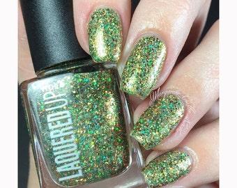 Irish Rose Gold//Handmade Green and Rose Gold Glitter Nail Polish// St. Patrick's Day// Cruelty Free
