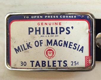 Vintage Milk of Magnesia tin belt buckle.  Belt buckle for men.  Custom belt buckle.  Recycled art.
