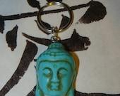 Howlite Tibetan Buddha Turquoise  Bead Keychain