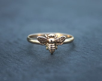 Bee ring - gold or silver - bee stacking ring - dainty ring - minimalist ring - gold bee ring - silver bee ring