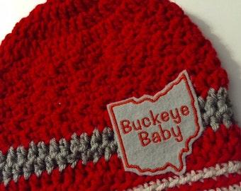 Baby // Crochet Hat // Ohio College // Team Color // Scarlet, Grey // Handmade // Buckeye Baby // ohio // State //