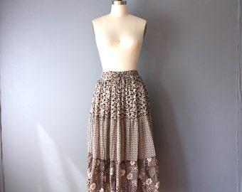 vintage prairie skirt / gauzy floral skirt / brown cream summer skirt