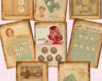 Vintage Made Button Cards - ACEO -  Printable Digital Collage Sheet - Digital Download - Instant Download