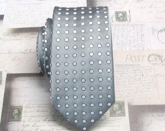 Mens Tie. Skinny Ties. Gray Silver Dot Skinny Necktie