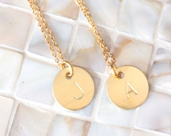 Initial Necklace, Hand Stamped Jewelry, Initial Charm, Personalized Jewelry, Gold Initial Necklace, Personalized Initial Necklace