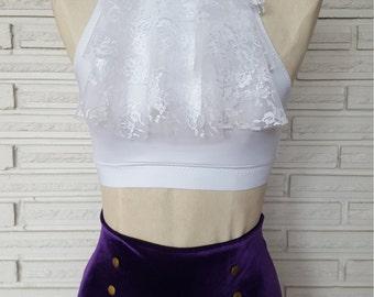 Purple Rain Aerial Costume, Ruffled Halter Top, Velvet High Waist Shorts