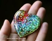 Big Rainbow Heart Necklace, Cute Resin Heart Pendant, Rainbow Jewelry, Sparkly Heart Resin Necklace, ROYGBIV Heart, Handmade by isewcute