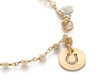 Bracelet, Charm Gold Fill Feeling Luck Horseshoe
