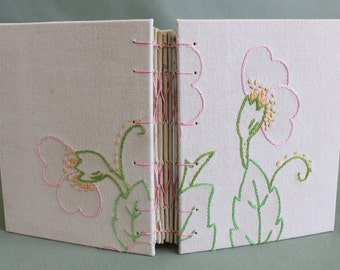 Tea Time Vintage Linen Hardcover Embroidered Journal 03 by PrairiePeasant