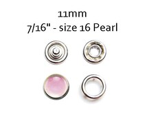 25 sets Pearl Pink Snap Fasteners 11MM. pearl prong snaps. pearl cap snaps. clothes fasteners. no sew snap button. metal prong snaps #700112