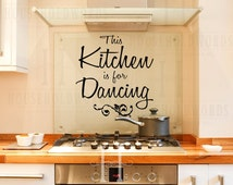 This Kitchen is for Dancing vinyl wall decal words lettering, Cute kitchen decor, dance quotes, Dancing Wall Decal, Gifts for Home