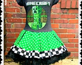 girls Minecraft dress creeper girls girls mine craft 4/5 6/6X 7/8 10/12 and 14/16 ready to ship