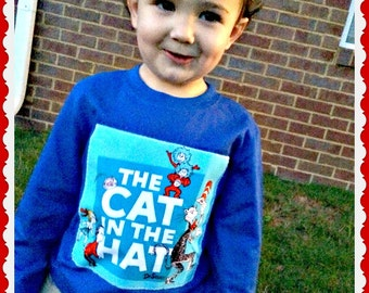 Boys Dr Seuss shirt Cat in the Hat 2T 3T 4T 5T 4/5 6/7 8/10 12/14 ready to ship