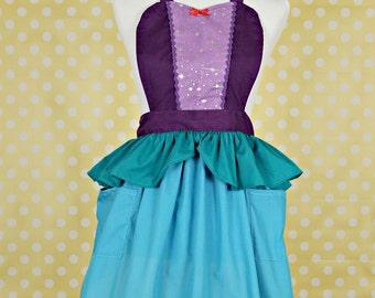 retro apron little Mermaid Ariel princess APRON  Princess dress up style  womens full Apron Ariel costume aprons
