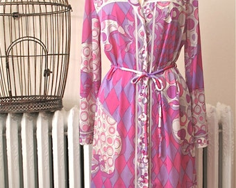 Emilio Pucci for Formfit Rogers    Harlequin Dreams   Vintage 1960's Nightshirt Dress with Belt - Pink and Purple Op Art Print