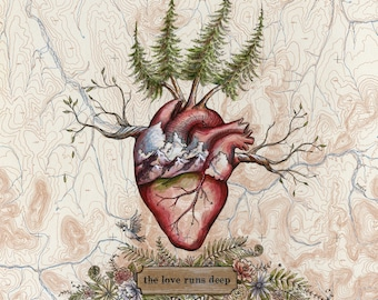 The Love Runs Deep, Heart art on topo map, 8 x 10 art print, hikers illustration,  trail runner painting, Mountain Love, anatomical heart