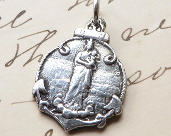 Stella Maris - Virgin Mary Star of the Sea Medal - Antique Reproduction
