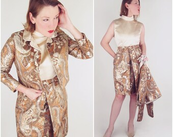 60s Lisa Meril Gold Silk & Lamé Brocade Dress + Jacket S M
