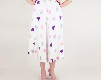 50s White, Pink, Purple & Grey Tassel Print Linen Skirt XS S